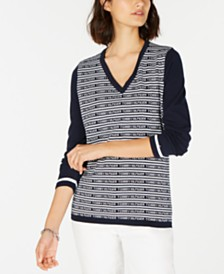 Tommy Hilfiger Colorblocked V-Neck Sweater, Created for Macy's