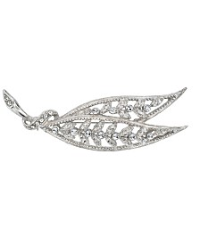 Downton Abbey Silver-Tone Large Edwardian Filigree Leaf with Pave Crystal Accents Bar Pin
