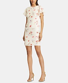 American Living Floral-Print Flutter-Sleeve Crepe Dress