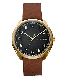 Master Works Men's Classic Light Brown Genuine Leather Strap Watch, 43mm