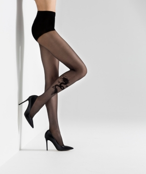 Natori Women's Dragon Sheer Tights Hosiery In Black