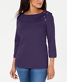 Cotton Shawl-Collar Button Top, Created for Macy's
