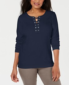 Karen Scott Cotton Lace-Up Top, Created for Macy's