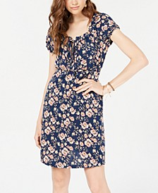 Juniors' Printed Puff-Sleeved Mini Dress, Created for Macy's