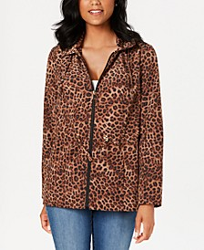 Petite Leopard-Print Zipper-Print Jacket, Created for Macy's