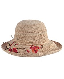 Crochet Raffia Hat with Embroidered Flowers