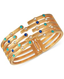 GUESS Gold-Tone Pavé Multi-Row Bangle Bracelet