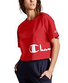 Women's Heritage Script-Logo Cropped T-Shirt