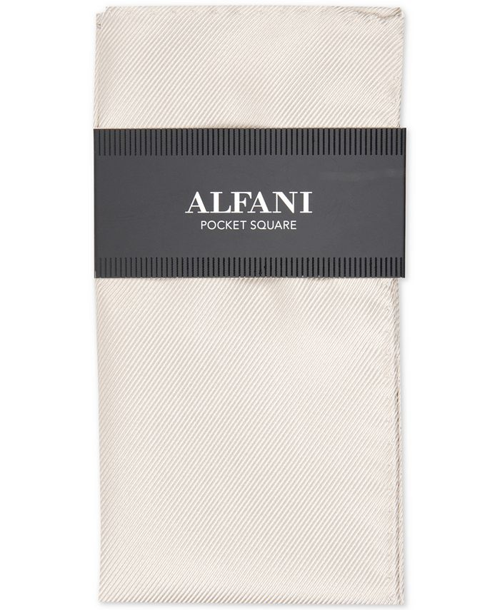 Alfani - Men's Solid Twill Silk Pocket Square