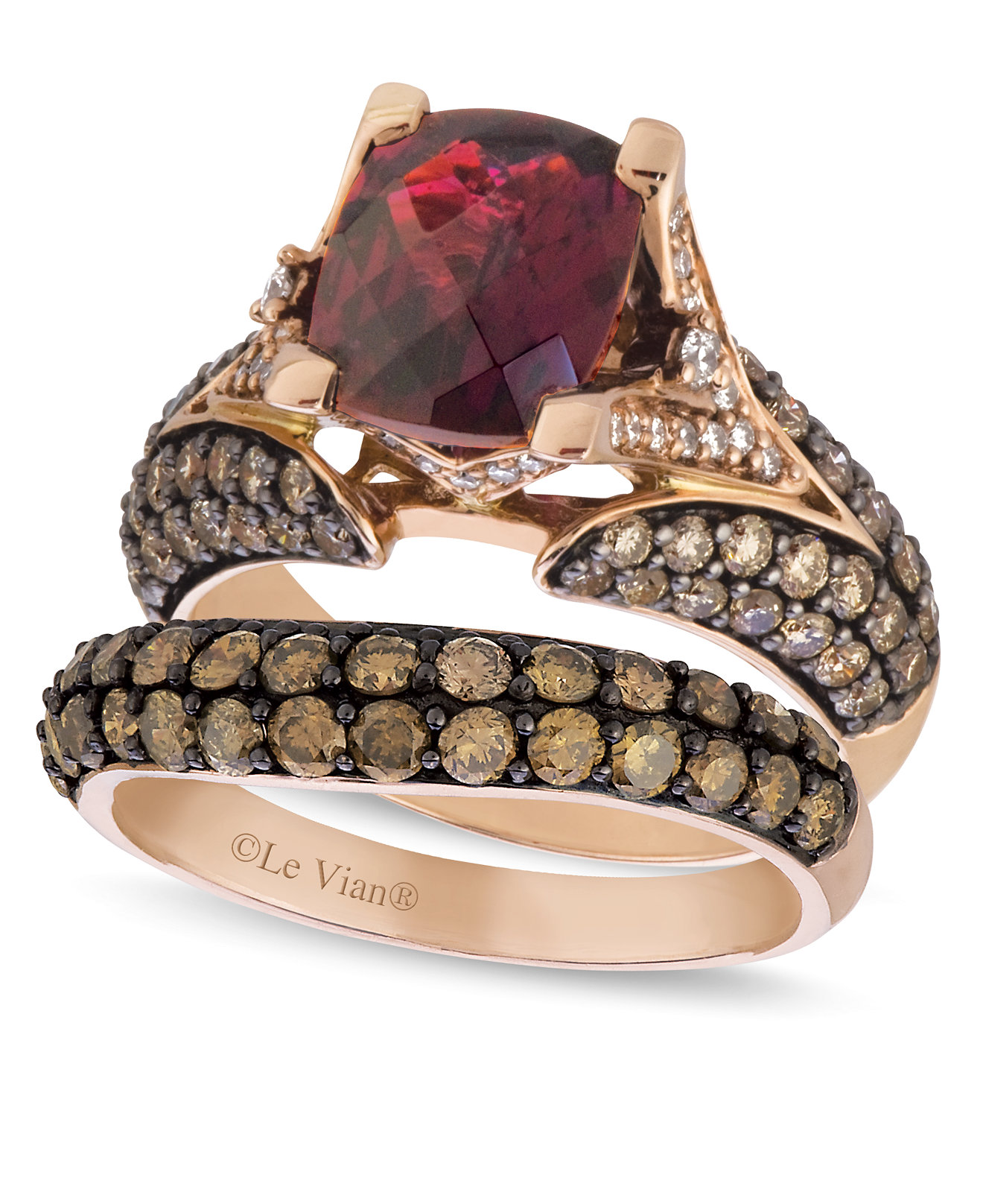 le vian stackable rings in 14k rose gold ID le vian wedding bands Fine Jewelry Since larger view