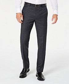 Men's Classic-Fit UltraFlex Stretch Charcoal/Blue Stripe Suit Pants