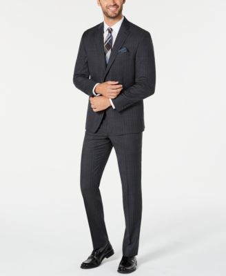 Men's Classic-Fit UltraFlex Stretch Charcoal/Blue Stripe Suit Pants