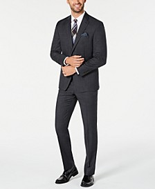 Men's Classic-Fit UltraFlex Stretch Charcoal/Blue Stripe Suit Separates