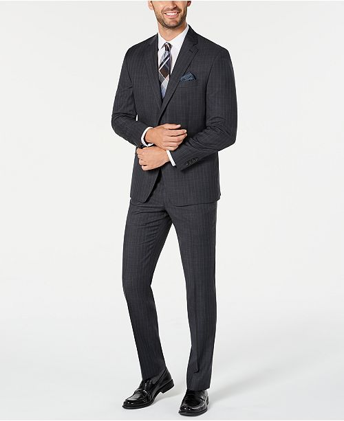 Lauren Ralph Lauren Men's Classic-Fit UltraFlex Stretch Charcoal/Blue Stripe Suit Separates