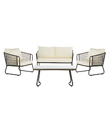 Benjin 4 Pc Outdoor Seating Set, Quick Ship