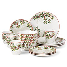 Holiday Knoll 16 Piece Dinnerware Set
