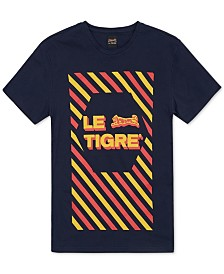 Le Tigre Men's Diagonally Striped Logo T-Shirt