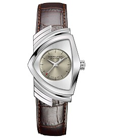 Hamilton Unisex Swiss Automatic Ventura Brown Leather Strap Watch 34.7x53.5mm