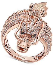 EFFY® Diamond Dragon Statement Ring (1-1/3 ct. t.w.) in 14k Rose Gold