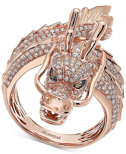 EFFY Collection EFFY® Diamond Dragon Statement Ring (1-1/3 ct. t.w.) in 14k Rose Gold