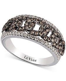 Le Vian Chocolatier® Vanilla Diamond® (1/4 ct. t.w.) & Chocolate Diamond® (1/2 ct. t.w.) Statement Ring in 14k White Gold