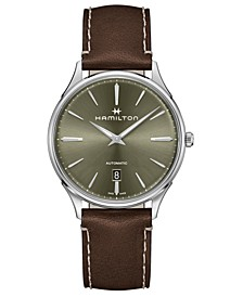Men's Swiss Automatic Jazzmaster Brown Leather Strap Watch 40mm