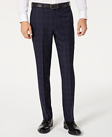 Men's Modern-Fit Stretch Navy/Light Blue Windowpane Suit Separate Pants