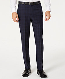 DKNY Men's Modern-Fit Stretch Navy/Light Blue Windowpane Suit Separate Pants