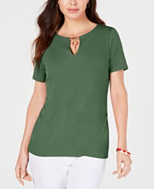JM Collection Embellished-Keyhole Top, Created for Macy's