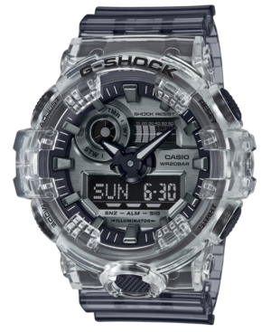 Men's Analog-Digital Skeleton Clear Resin Strap Watch 53.4mm