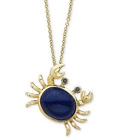 "EFFY® Lapis Lazuli & Diamond Accent Crab 18"" Pendant Necklace in 14k Gold"
