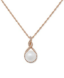 "Cultured Freshwater Pearl (7mm) & Diamond (1/10 ct. t.w.) 18"" Pendant Necklace in 14k Gold or 14k Rose Gold"