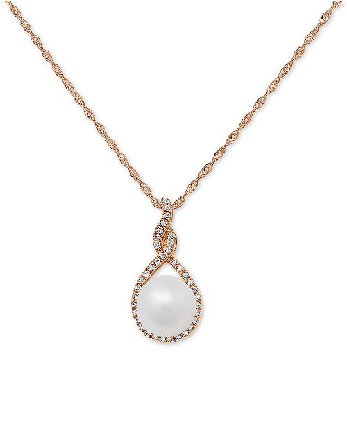 """Macy's Cultured Freshwater Pearl (7mm) & Diamond (1/10 ct. t.w.) 18"""" Pendant Necklace in 14k Gold or 14k Rose Gold"""