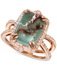 Le Vian® Peacock Aquaprase (14 x 10mm) & Vanilla Topaz (1/3 ct. t.w.) Statement Ring in 14k Rose Gold