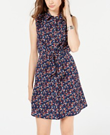 Be Bop Juniors' Tie-Front Shirtdress