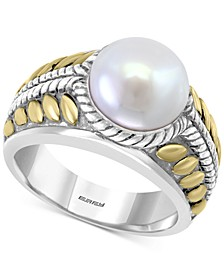 EFFY® Cultured Freshwater Pearl (10mm) Two-Tone Statement Ring