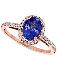 Tanzanite (1-1/5 ct. t.w.) & Diamond (1/6 ct. t.w.) Statement Ring in 14k Rose Gold