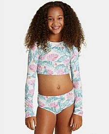 Big Girls 2-Pc. Mas Playas Printed Rash Guard Swimsuit