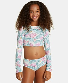 Billabong Big Girls 2-Pc. Mas Playas Printed Rash Guard Swimsuit