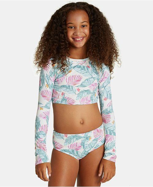 Billabong Big Girls 2-Pc. Mas Playas Printed Rash Guard Swimsuit