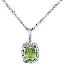 """Peridot (3/4 ct. t.w.) & Diamond (1/10 ct. t.w.) 18"""" Pendant Necklace in 14k White Gold (Also Available in Garnet, Blue Topaz and Amethyst)"""