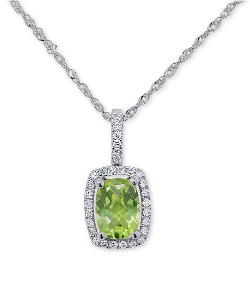 """Macy's Peridot (3/4 ct. t.w.) & Diamond (1/10 ct. t.w.) 18"""" Pendant Necklace in 14k White Gold (Also Available in Garnet, Blue Topaz and Amethyst)"""
