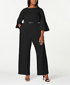Trendy Plus Size Bell-Sleeve Jumpsuit
