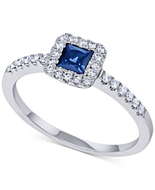 Sapphire (1/3 ct. t.w.) & Diamond (1/5 ct. t.w.) Statement Ring in 14k White Gold