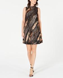Robbie Bee Petite Metallic Animal-Print Trapeze Dress