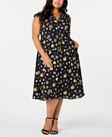 Anne Klein Plus Size Libretto Printed Drawstring Midi Dress