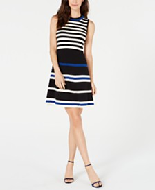 Anne Klein Striped Sweater Dress
