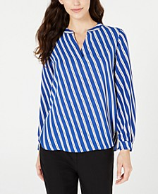 Striped High-Low V-Neck Top