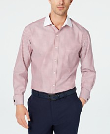 Tasso Elba Men's Slim-Fit Non-Iron Supima Cotton Twill Bar Stripe French Cuff Dress Shirt, Created for Macy's