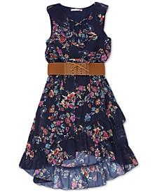 Big Girls Belted Floral-Print Boho Dress